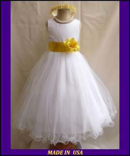 NEW WHITE YELLOW PAGEANT BRIDAL PARTY FLOWER GIRL DRESS 18 24MO 2 4 6