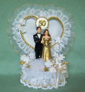 50th Wedding Anniversary Cake Topper w/Bride & Groom Satin & Organza