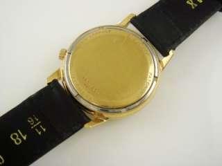 VINTAGE 1967 BULOVA ACCUTRON SOLID 18K YELLOW GOLD MENS WATCH BLACK