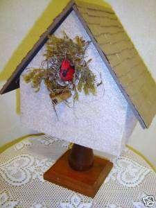 Decorative Homemade Wood Birdhouse Shingled Roof #1