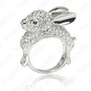 18K White Gold Plated Swarovski Crystal Mashimaro Rabbit Charm Ring 8