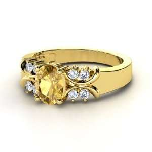 Gabrielle Ring, Oval Citrine 14K Yellow Gold Ring with