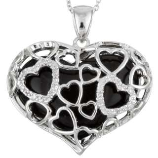 Leigh Sterling Silver Onyx and Diamond Heart Necklace