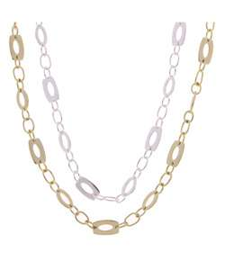 Sterling Silver/18 kt Gold over Silver Link Necklace