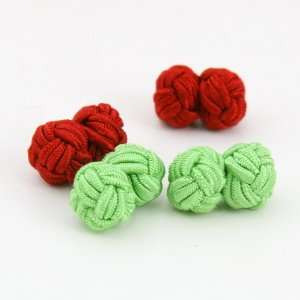 Red, light green fashion silk knotcufflinks with Gift Box good value Y