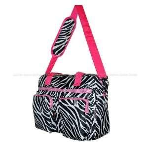 Track Black / White / Pink Zebra Messenger Bag Shoulder Tote Laptop