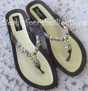 ANIMAL LEOPARD PRINT BROWN THONG RESORT SANDALS 755415252239