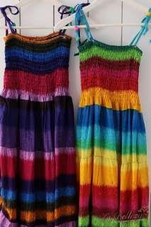 Womens Trendy BOHO Style Rainbow Stripe Casual Colorful Maxi Dress