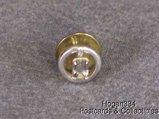 Vintage Swank Silver Tone Clear Glass Stone Tie Tack