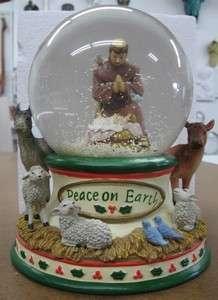 SNOW GLOBE Peace on Earth w/ St. Francis over Manger Christmas
