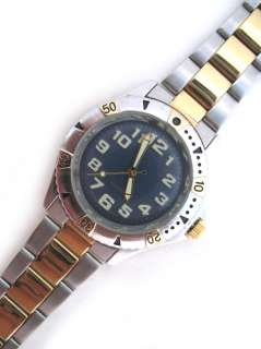 BLUE Face Dial Mens Wristwatch WATCH Stainless Steel Gold Silver Tone