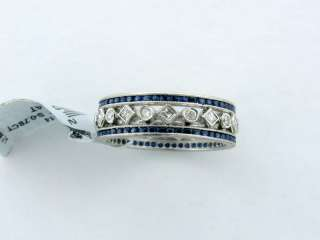 DECO STYLE PLATINUM SAPPHIRE DIAMOND WEDDING BAND RING