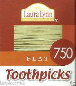 750 FLAT Wooden TOOTHPICKS NO ADDITIVES white birch Laura Lynn NATURAL