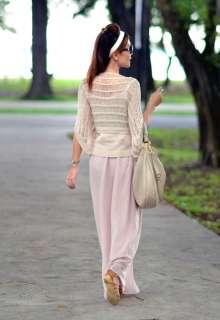 New Womens Light Peach Vintage Style Chiffon Long Maxi Skirt
