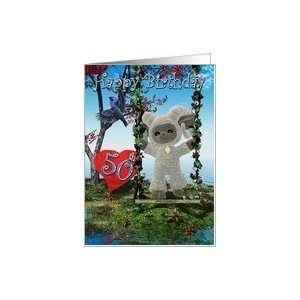 Happy 50th Birthday lamb and bird heart water Card Toys
