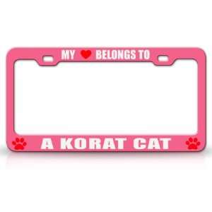MY HEART BELONGS TO A KORAT Cat Pet Auto License Plate