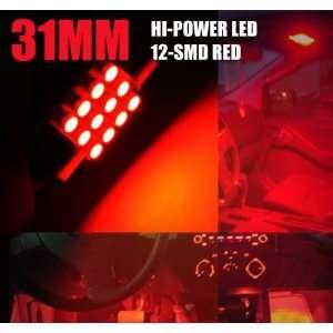 , De3175 Dome Interior LED Light Bulb Red 12 smd a (Pair) Automotive