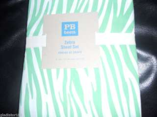 Pottery Barn TEEN ZEBRA DUVET COVER TWIN GREEN NEW