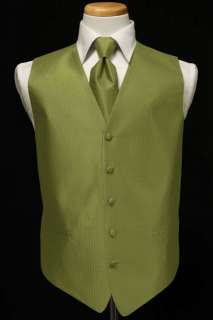 Tuxedo Vest & Tie   Herringbone   Fern
