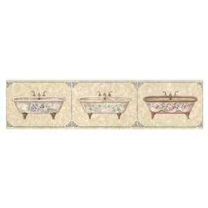 IMPERIAL Marble Victorian Bathtubs Wallpaper Border