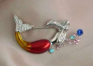 STUNNING CRYSTAL RHINESTONE ENAMEL MERMAID BROOCH PIN