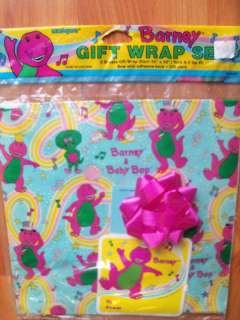 Vintage 1992 Barney & Baby Bop Gift Wrap Set MIP