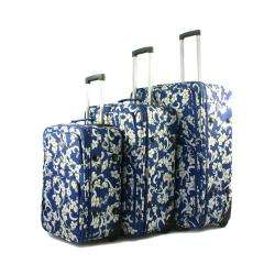 Tropical Flower Expandble 3 Piece Upright Luggage Set