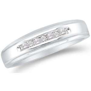 MENS Wedding Band Ring   w/ Channel Set Round Diamonds   (.08 cttw