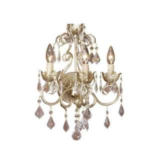 NEW 3 Light Crystal Wall Sconce Lighting Fixture, Antique White, Gold