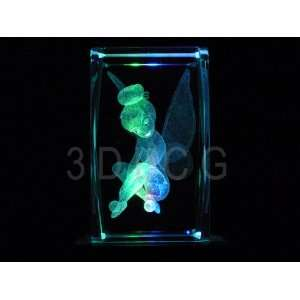 Disney Tinkerbell Sitting 3D Laser Etched Crystal S2