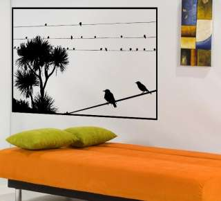Tree branch Birds on Wire Mural Wall Decor Vinyl Decal