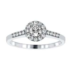 0.65 CT TW Halo Pave Accented Round Diamond Engagement