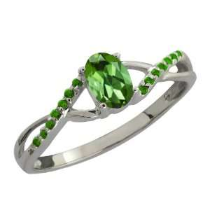 0.48 Ct Oval Green Tourmaline and Green Diamond 14k White