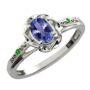0.46 Ct Oval Blue Tanzanite Green Tsavorite 18K White Gold