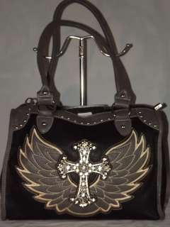 West Black Angel Wing Rhinestone Cross Handbag w/ dust cover