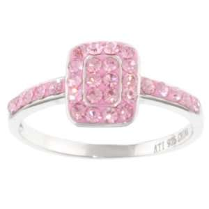 Sterling Silver Pink Square Crystal Ring, Size 6 Jewelry