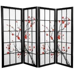 4 ft. Tall Cherry Blossom Shoji Screen  Black   4P