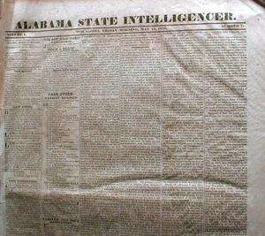Alabama newspaper INDIAN REMOVAL TO FAR WEST Trail of Tears CHEROKEE