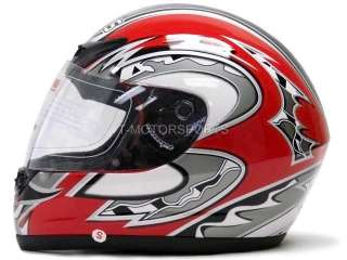 FACE MOTORCYCLE STREET HELMET SPORT BIKE RED RACING FLAG DOT ~S