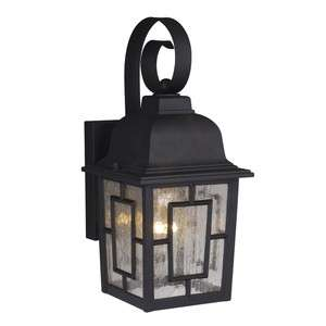 Mission Outdoor Wall Lamp Lighting Fixture, Black, Clear Water Glass