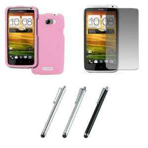 EMPIRE HTC One X Rubberized Case Cover (Pink) + 3 Pack of