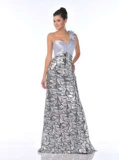 HOT LONG PROM FORMAL EVENING METALLIC SILVER ALL SEQUINS RED CARPET
