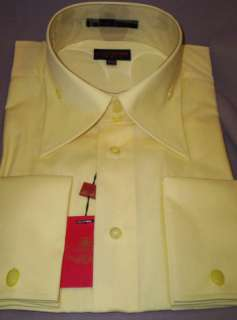 Mens Cool Yellow High Collar French Cuff Dress Shirt