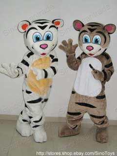 WHITE TIGER AND BROWN TIGER 2 CARTOON MASCOTS COSTUMES