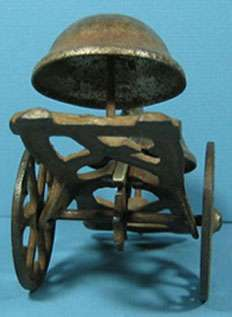 CAST IRON 2 HEADED AFRICAN AMERICAN BLACK GONG BELL TOY T44