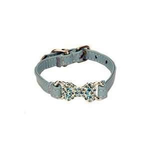 Blue Leather Swarovski Crystal Bone Dog Collar (XSmall