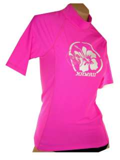 Maui Wear 500w womens short sleeve quality pink swim shirt / rash
