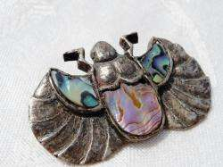Vintage ART DECO Egyptian Revival STERLING SCARAB BROOCH Abalone