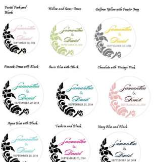 100)Personalized Damask Favor Labels Round Wedding