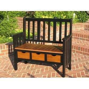 Caravan Black and oak antique finish wood acacia outdoor patio bench